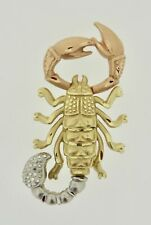14K Tri-Color Gold Diamond Cut Scorpion Insect Pendant 2 Bales Open Backed