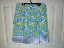 Lilly Pulitzer 100% Cotton Pleated Skirt Blue Yellow White Fully Lined Size 4