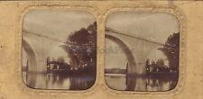 Train Chemin de Fer Pont entre paris et Mulhouse Stéréo Vintage Albumine ca 1860