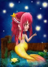 'Midsummer Dream' Little Mermaid Art Pink Hair Fireflys Blue River Dock 8.5x11""