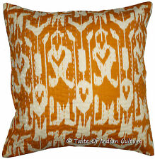 "16"" Cotton Handmade Brown Cushion Pillow Cover Ikat & Kantha Work Throw INDIA"