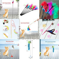 Cat Kitten Pet Teaser Turkey Feather Interactive Stick Toy Bell Wire Chaser Wand