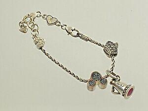 Genuine Brighton Charm Bracelet w/  2 Disney Charms 1 Cheerleader Megaphone #297