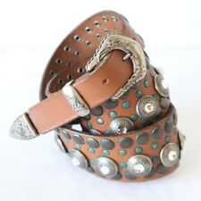Nanni Embellished Wide Leather Western Belt Studs Rodeo Italy Cabochon 32 M L