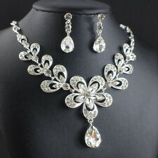 Bridal Jewelry Sets For Women Wedding Accessories Plated Silver Necklace Earring