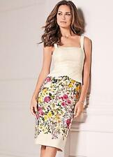 Luxury Jacquard Fitted Floral Skirt Dress with Peplum Detail Size 10 NEW