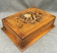 Large antique Art Nouveau box vanity case wood early 1900's carving woodwork