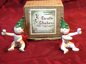 Vintage Holt Howard Snowmen Candle Climbers Huggers Christmas Japan 1958