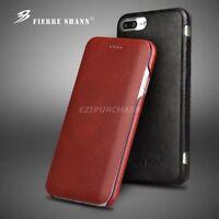 Luxury Slim Genuine Leather Magnet Flip Cover Case For iPhone X 6S 7 8 Plus S001