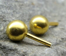Indian Style Studded EAR Studs PAIR 14k Solid Real Gold Push Pin