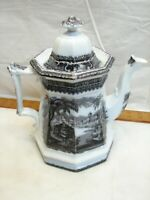 Antique Ironstone Black Transferware Coffee Pot Pitcher Teapot Transfer Ware Tea