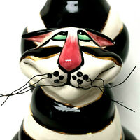 Black And White Lynda Corneille Ceramic Cat Candle Holder