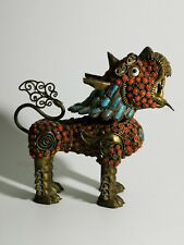 More details for vintage fu foo lion dog, tibetan inlaid brass coral turquoise snuff bottle