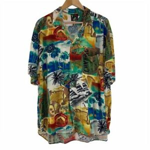 Vintage Jams World Cuba China Singapore All Over Print Button Up Short Sleeve