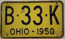 1950 Vintage Original OHIO License Plate Tag B-33-K SHORTY