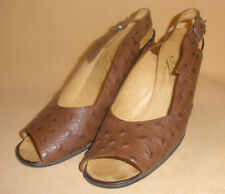 1970's Brown Ostrich Skin Leather Sling Back Heels by Felix - Size 5 1/2 - Shoes