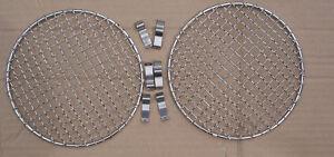 "Pair Universal 5 3/4"" Stainless Steel Headlamp Headlight Stoneguards Classic"
