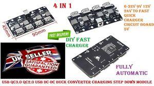 DIY NEW 24W USB QC 3.0 Fast Charge Step-down Buck Module Power 12V 24V DC Input