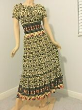 Sexy slinky fabric Tiered Peasant Gypsy Boho Dress Smocked on/off shoulder M L