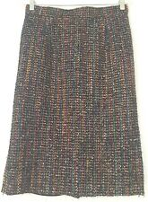 VTG 80's Louis Feraud Black w/ Metallic & Multicolor Weave Pencil Skirt Sz 8