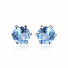 5mm Genuine Natural Blue Round Topaz and Sterling Silver Stud Earrings 1.2ct