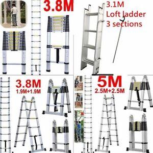 1.4 3.2 3.8m 6.2m Multi Purpose Aluminium Telescopic Ladder Extension Extendable