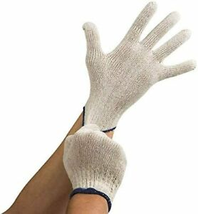 24 Pack Natural White String Knit Poly Cotton Work Gloves New Large Unisex