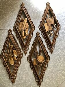 Vintage 4 SYROCO MCM Gold Diamond Shaped Wall Plaques The Arts USA