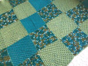 "Vintage Green Handmade Crochet Granny Blanket Bedspread 48 X 72"""