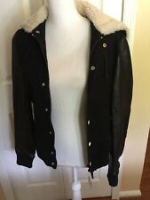 Band Of Outsiders Shearling Coat Hooded Bomber Leather! Sale!