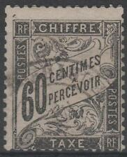 """FRANCE STAMP TIMBRE TAXE N° 21 """" TYPE DUVAL 60c NOIR """" OBLITERE TB"""