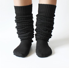 JAPAN HIGH SCHOOL White Bubble Loose Slouch Socks Winter Leg Warmer Black White