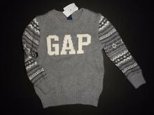 NWT Baby GAP 2T/Years Intarsia Logo Fair Isle Heather Gray Sweater New