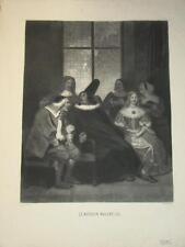 RARE Gravure GRANDVILLE MOLIERE LE MEDECIN MALGRE LUI CARICATURE SATIRE 1840