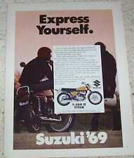 1969 ad page - Suzuki T-500 Ii Titan motorcycles -Express Yourself- Print Advert