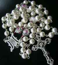 MOTHER-OF-PEARL ROSARY & PINK ROSE Coloured glaze BEADS ITALY CROSS CATHOLIC