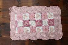 Heart Patchwork Quilted Cotton Bedroom Bath Door Mat Rug Vintage Pink Shabby D7