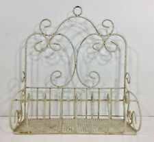 "Distressed Scrolly Metal Wire Cream Single Shelf Wall Mount Shelf 12"" Wide"