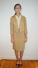 Vintage 1960's 60's Beige Linen Blend Skirt Suit Outfit by Glenhaven Size XS