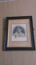 Antique Framed Ancestor Portrait Photograph Haunting Girl Child Late C19th