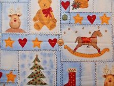 JoAnn Fabrics Tis The Season Christmas Quilt Block Print Zig Zag Denim Look 40""