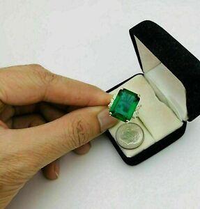 Anello di fidanzamento solitario con smeraldo verde a taglio smeraldo da 6...
