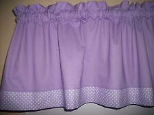 Solid Lavendar Polka Dot purple fabric decor window curtain topper Valance