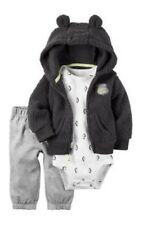 BNWT Carter's 3 Piece Hooded Jacket Pants Set Size 1 Baby Grey Brown Handsome