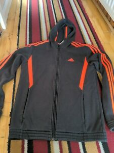 Adidas Hooded Fleece Tracksuit Top Jacket Small Mens gym sports warm winter
