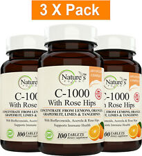 3 X Vitamin C 1000mg. [300 Day Supply] Immune System Support (100 Tablets Each)