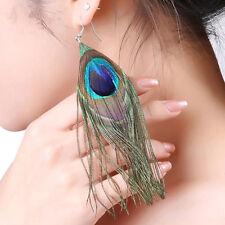 Fashion 1Pair Cute Peacock Feather Metal Ethnic Beauty Dangle Earrings Jewelry
