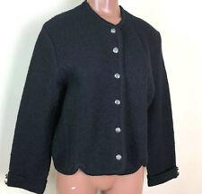 Vintage Tally Ho Black Boiled Wool Button Jacket Cardigan Sweater Vintage Sz 10