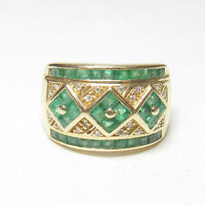 Estate 14K Yellow Gold Natural Lime Green Emerald And Diamond Ring 2.00 Cts