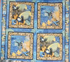 Wild Life Sea World Fabric Pillow Panel Fish Coral Turtle Ocean Blue BTY